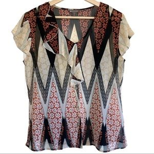 Spanner Earthy Coloured Diamond Pattern Top